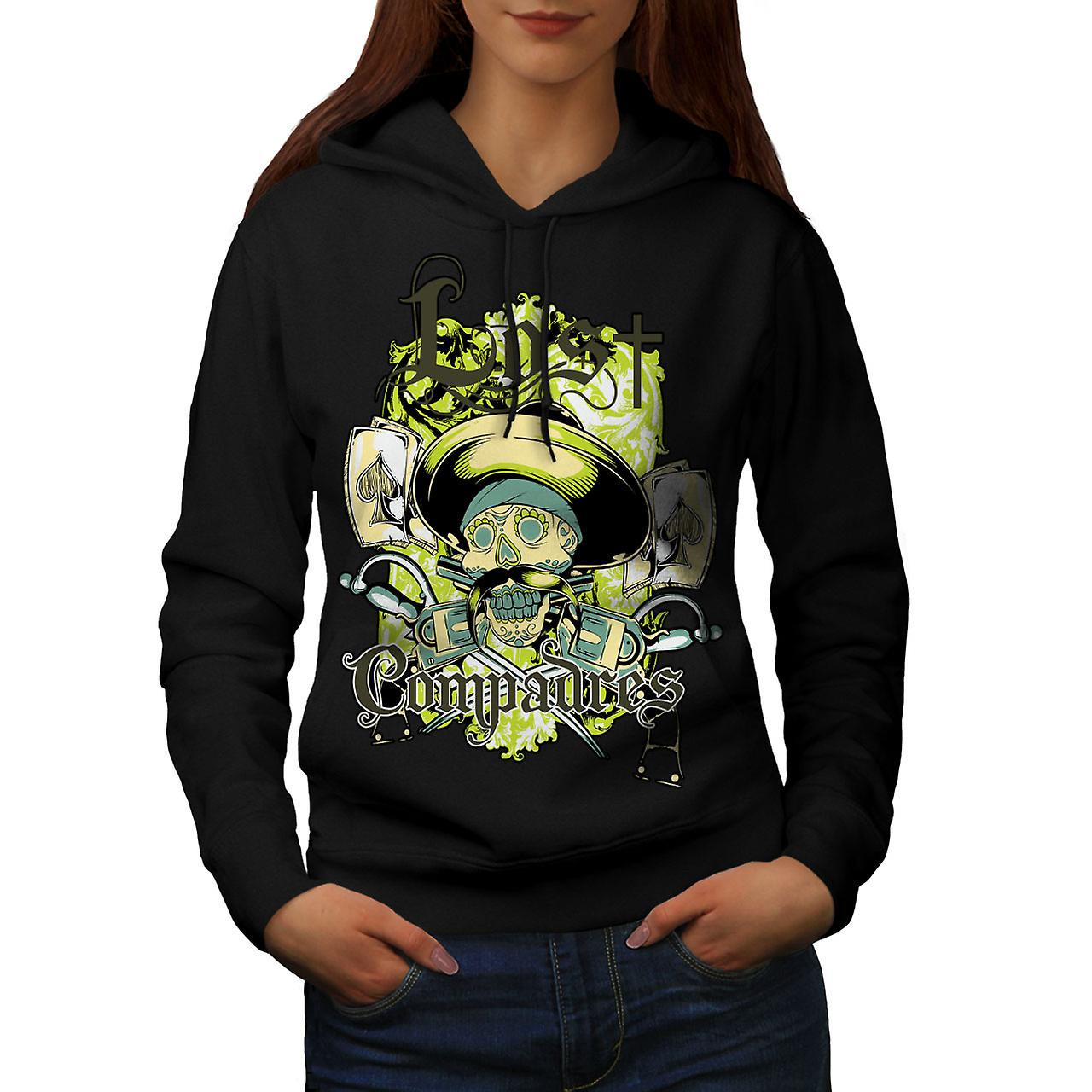 Lost Compadres Cool Skull Women Black Hoodie | Wellcoda