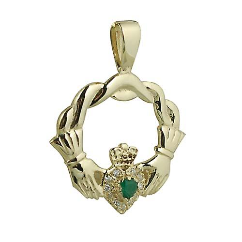 9ct Gold 27x30mm Claddagh set with Green Agate and CZ's