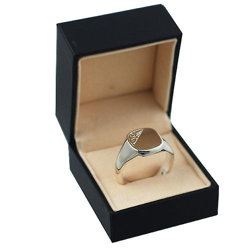 Silver 14x13mm hand engraved gents cushion shape Signet ring