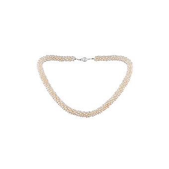 Collar woman 6 ranks in soft white and clasp in Silver 925/1000 water cultured pearls