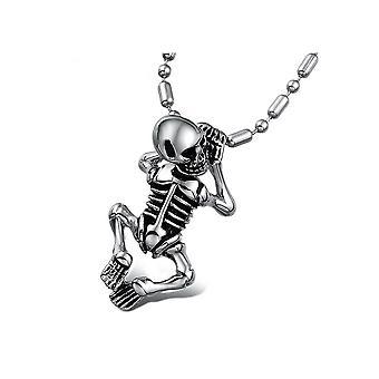 Menschliches Skelett Edelstahl Anhänger Halskette