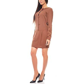 Knee-length summer blouses dresses long-sleeve Brown Laura Scott