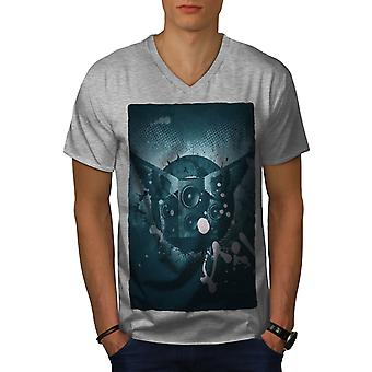 House Wings Speaker Men GreyV-Neck T-shirt | Wellcoda