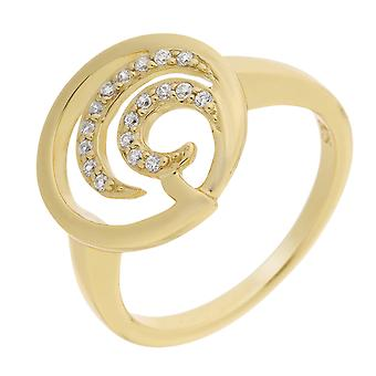 Orphelia Silver 925 Ring Gold Round  Zirconium   ZR-7084/2