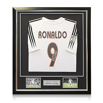 Ronaldo de Lima Signed 2004-05 Real Madrid Home Shirt In Deluxe Black Frame With Silver Inlay