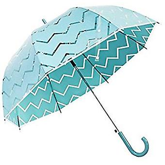 Straight Clear Umbrella (Dark Green Chevron)
