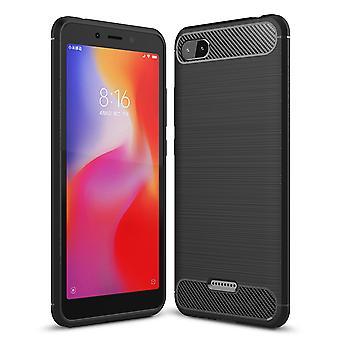 Xiaomi Redmi 6A Hülle Silikon Schwarz Carbon Optik Case TPU Handyhülle Bumper