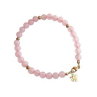 Cuarzo rosa collar piedras preciosas pulsera de cuarzo rosa chapado en oro pulsera