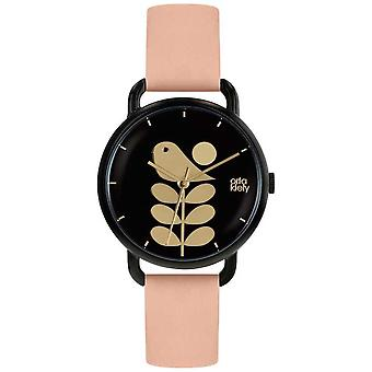Orla Kiely Bird Print | Black Case | Pale Pink Strap OK2236 Watch