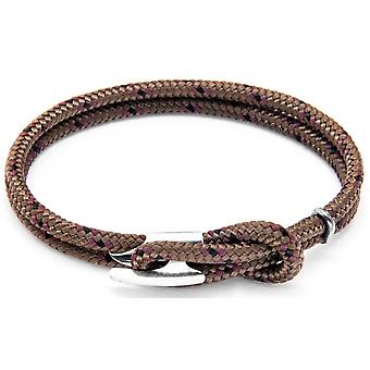 Anchor and Crew Padstow Silver and Rope Bracelet - Brown