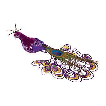 TRIXES Purple Peacock Xmas Tree Decoration 21cm Ornament