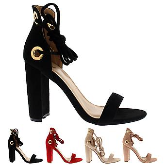 Womens Block High Heel Suede Lace Tie Up Suede Fashion Chic Sandals Shoes UK 3-8