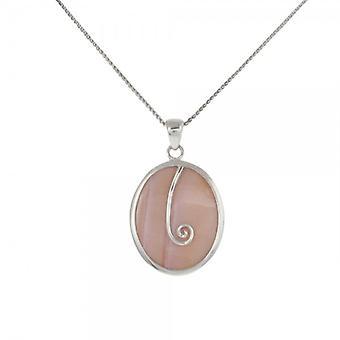 La plata francesa de Cavendish y rosa madre de perla Oval colgante con cadena de plata de 16-18