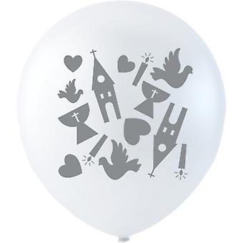 Branco balões confirmação 6-pack-26 cm (10