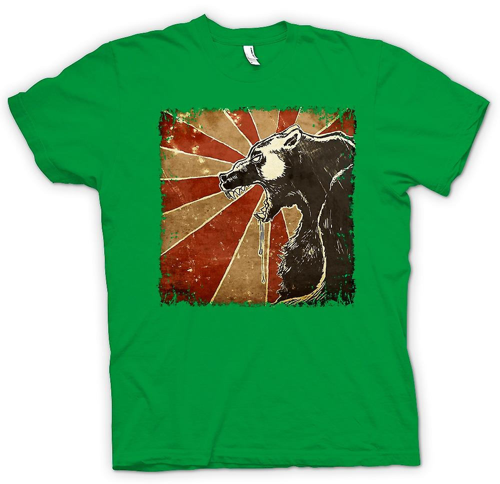 Mens T-shirt - Russian Bear - Cool Retro Poster