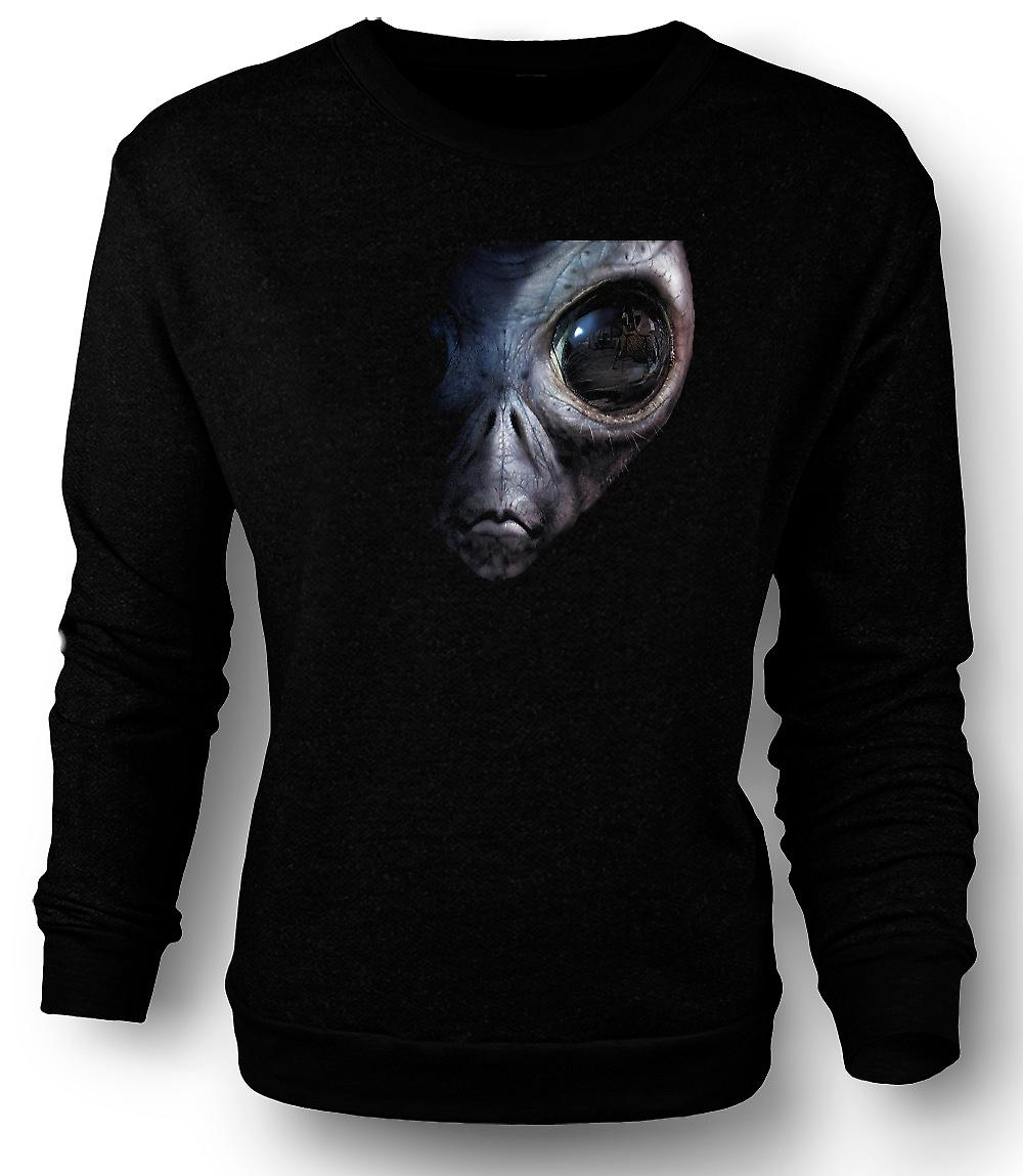 Mens Sweatshirt Alien - UFO - grå
