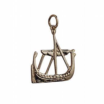 9ct Yellow Gold Solid Charm Viking Ship