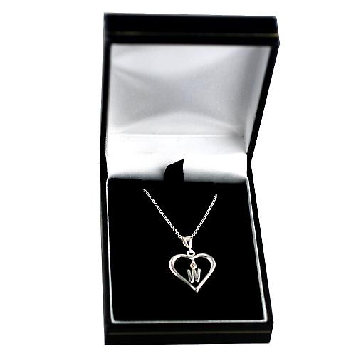 Silver 18x18mm initial W in a heart Pendant with a rolo Chain 14 inches Only Suitable for Children
