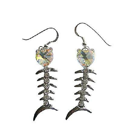 AB Swarovski Crystal Heart Fish Chandelier Dangling Silver Earrings
