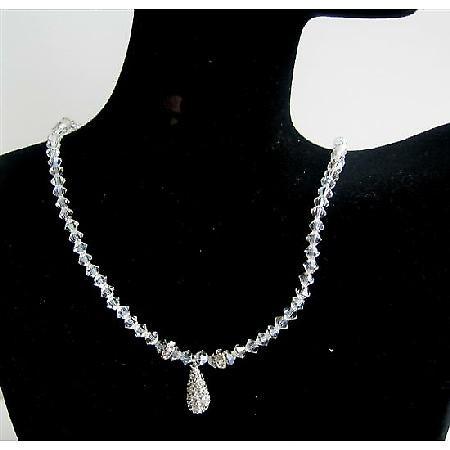 Swarovski Moonlite Crystal Necklace w/ CZ Tear Drop Jewelry