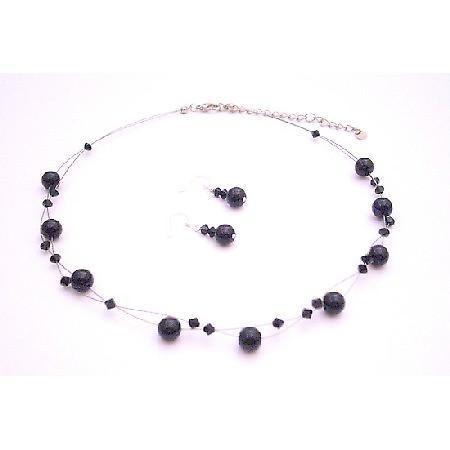 Evening Wear Jewelryf Black Pearls Swarovski Jet Crystals Necklace Set