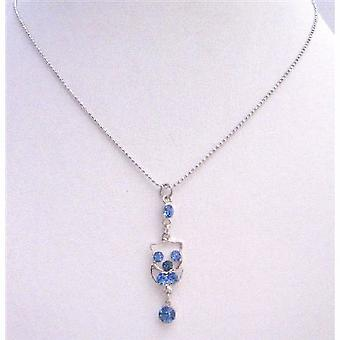 Dangling Pendant Necklace Silver Frame Dangling w/ Blue Cubic Zircon