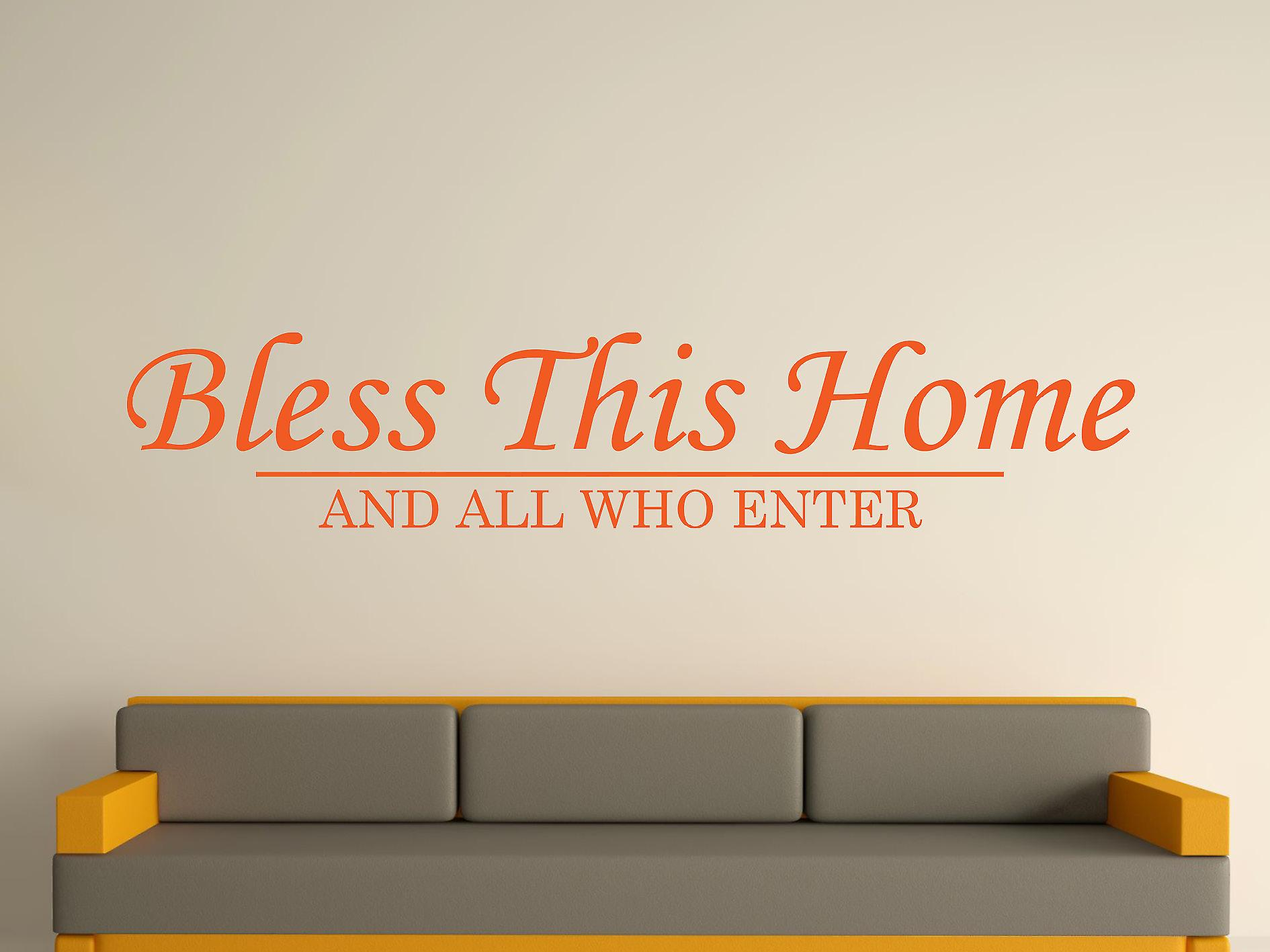 Bless This Home Wall Art Sticker - Orange