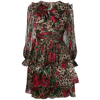 Dolce E Gabbana Leopard Silk Dress