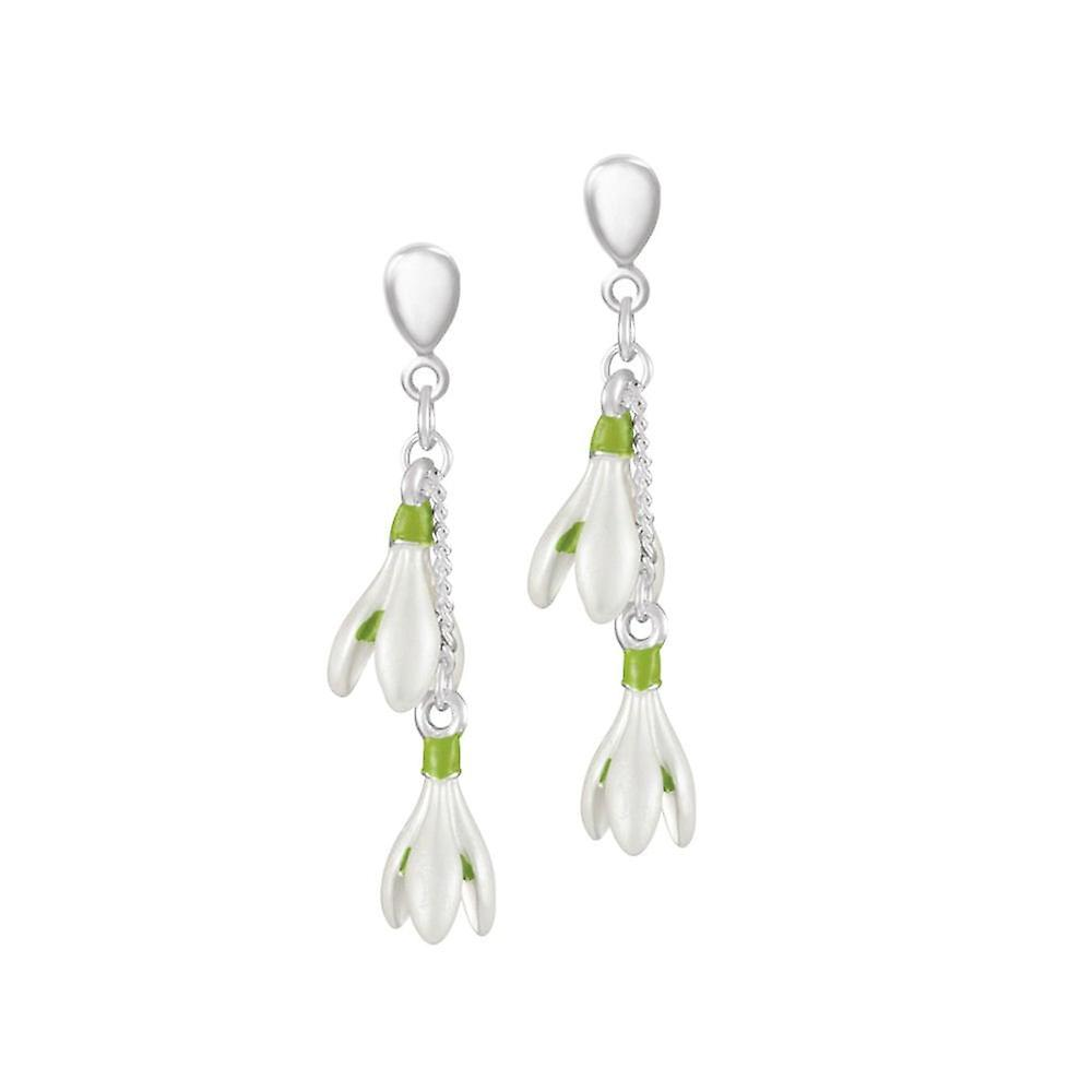 Eternal Collection Spring Snowdrop White Enamel Silver Tone Drop Clip On Earrings
