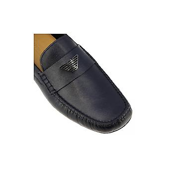Emporio Armani X4b124 Xf330 Leather Navy Loafers