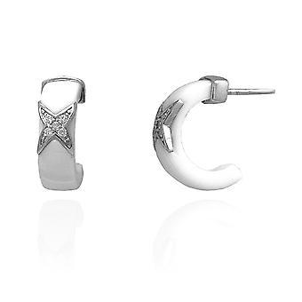 Ah! Bijoux strass Hoop blanc céramique cristaux de Swarovski boucles d'oreilles