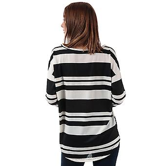 Womens Only Elcos Stripe Jersey Top In Black- Wide Round Neck
