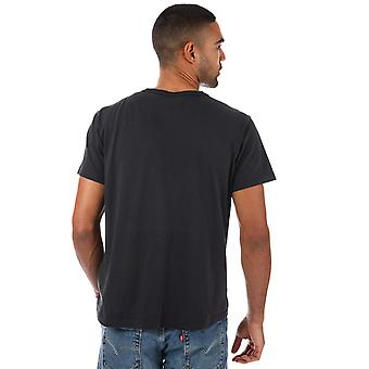 Mens Levis Button Your Fly T-Shirt In Black- Short Sleeve- Ribbed Collar- Crew