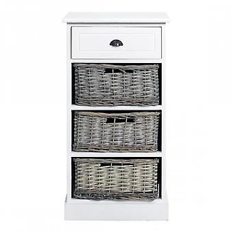 REBECCA Furniture Drawer Cupboard Urban Country White 1 drawer 3 Baskets Room