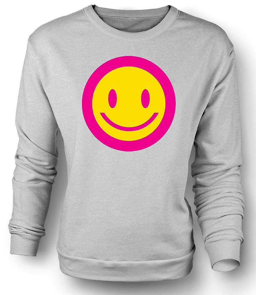 Mens Sweatshirt Pink Smiley Face - Acid Kids