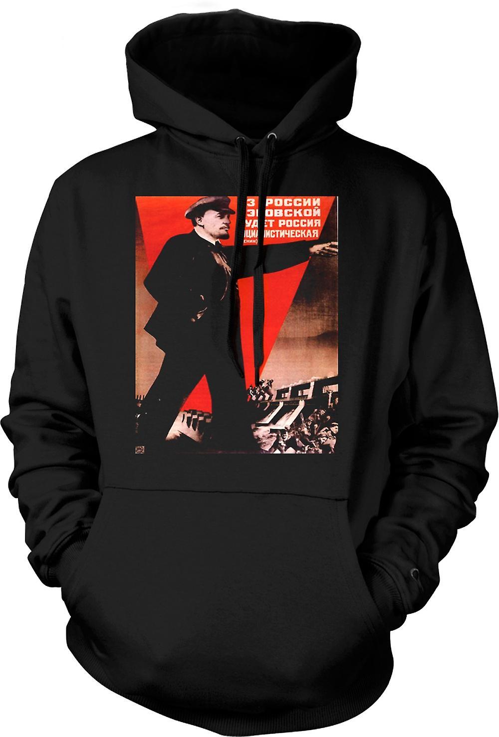 Mens Hoodie - Lenin Russian Propoganda Poster