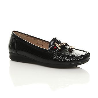 Ajvani dame nautiske flad slip på lav hæl kile fuld læder moccasin kvast hyttesko comfort båd sko