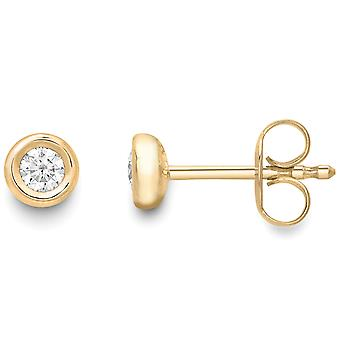 Jewelco London 18ct Gold Diamond Rubover Solitaire Stud Earrings 5mm 0.16ct