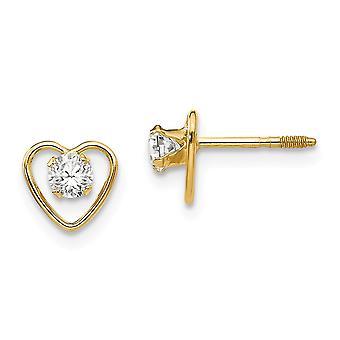 14k Yellow Gold Polished Screw back Post Earrings 3mm White Zircon Heart for boys or girls Earrings - Measures 6x6mm