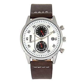 Breed Andreas Leather-Band Watch w/ Date - Silver/Dark Brown
