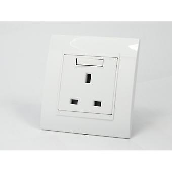 I LumoS AS Luxury White Plastic Arc Single Switched Wall Plug 13A UK Sockets