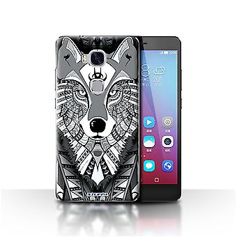 STUFF4 Case/Cover for Huawei Honor 5X/GR5/Wolf-Mono/Aztec Animal