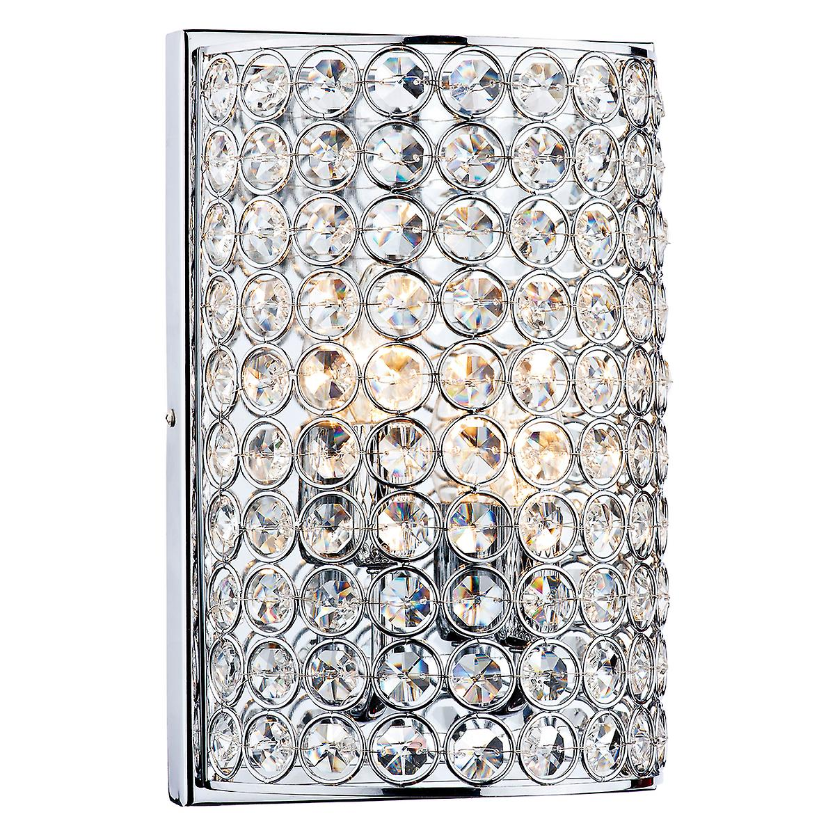 Dar FRO0950 Frost Modern Switched And Double Insulated Crystal Wall Light