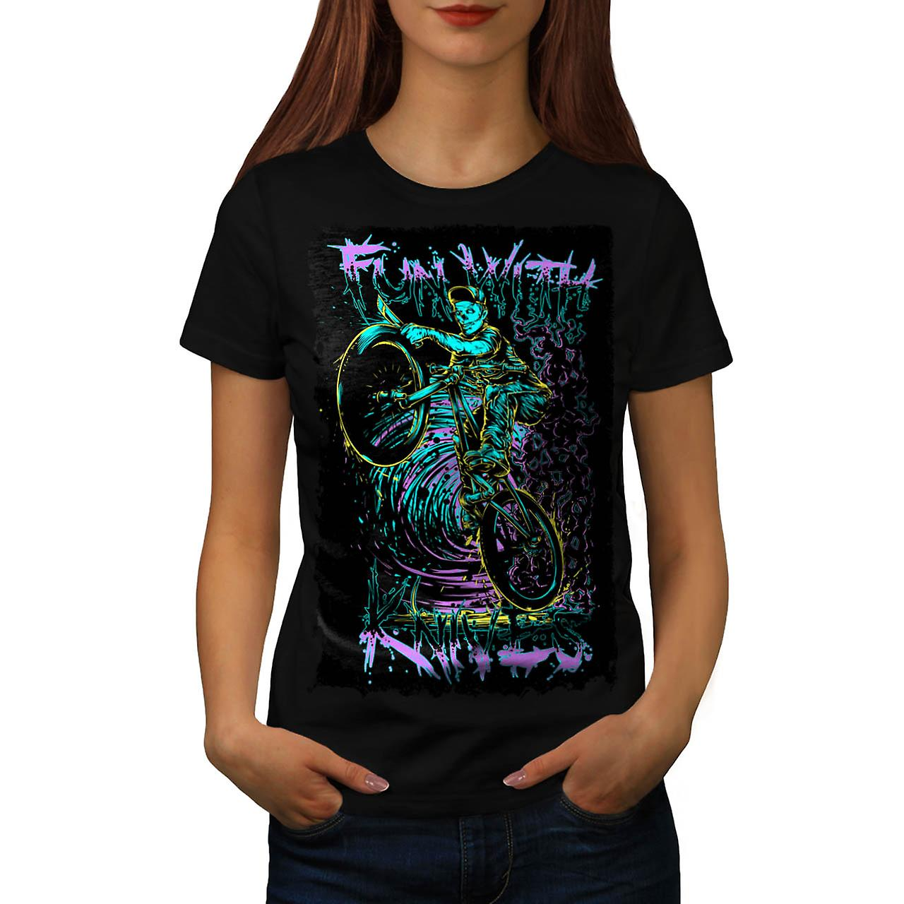 Fun Knive Biker Art Skull Zombie Bike Women Black T-shirt | Wellcoda