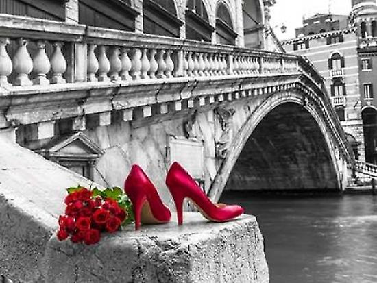 Bunch of red roses shoes and red high heel shoes roses Rialto Bridge Venice Italy Poster Print by  Assaf Frank dfe901