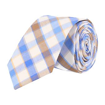 Andrews & co. narrow tie white blue beige Tartan