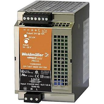 Weidmüller CP T SNT 360W 24V 15A Pro-H DIN Rail Power Supply 24 - 28Vdc 15A 360W, 1-Phase