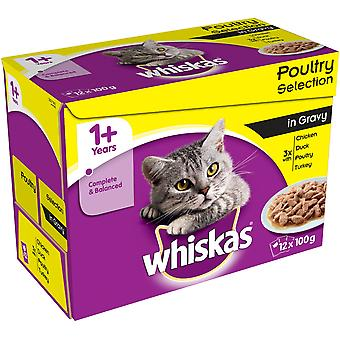 Whiskas Pouch 1+ Poultry Selection In Gray 12x100g (Pack of 4)