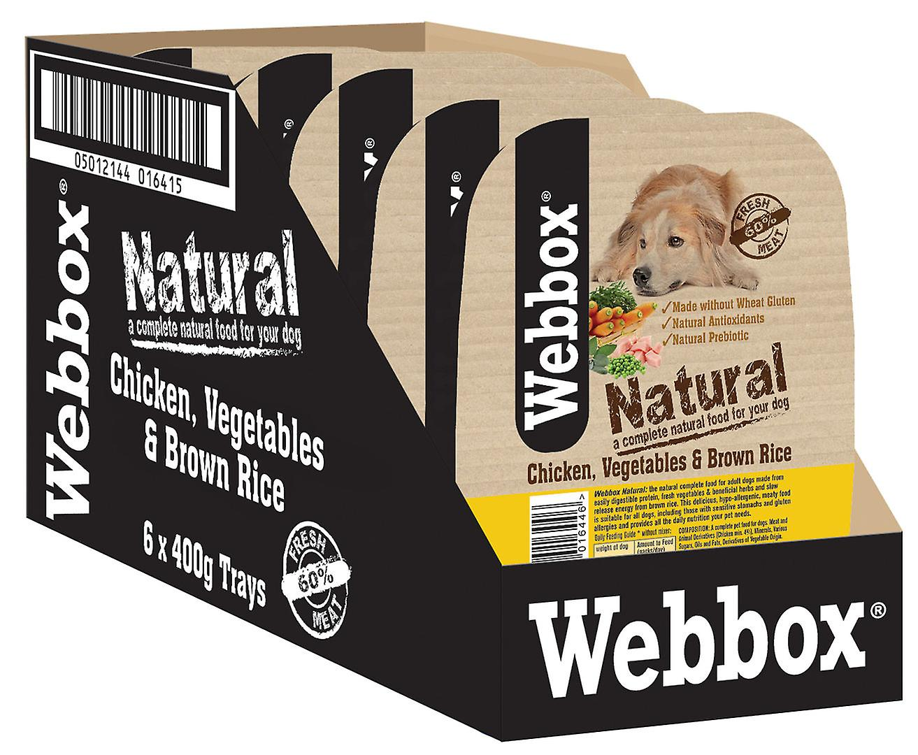 Webbox Natural Trays Dog Chicken Brown Rice & Veg 400g (Pack of 7)