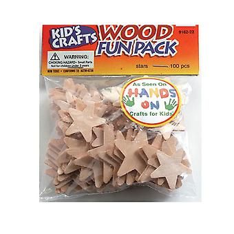 100 Assorted Natural Wooden Stars | Wooden Shapes for Crafts
